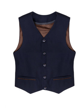 Blue vest for a boy isolated on a white background