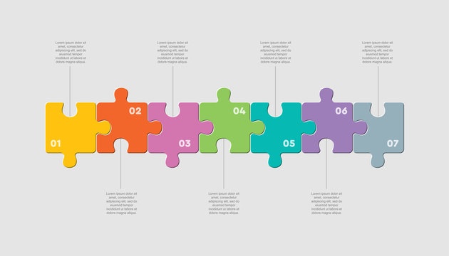 Seven pieces jigsaw puzzle square line infographic