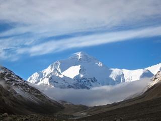 Mount Everest towering above misty clouds  seen from Tibet basecamp, China, Asia
