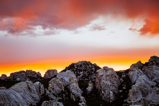 Sunset, City of Rocks National Reserve, Idaho, USA