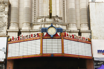 LOS ANGELES - NOVEMBER 19, 2018: Los Angeles Theatre marquee. The Los Angeles Theatre is a 2,000-seat historic movie palace in the historic Broadway Theater District in Downtown Los Angeles.