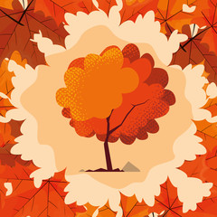 hello autumn poster with tree plant