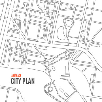 Black Thin Line City Map Card Background. Vector