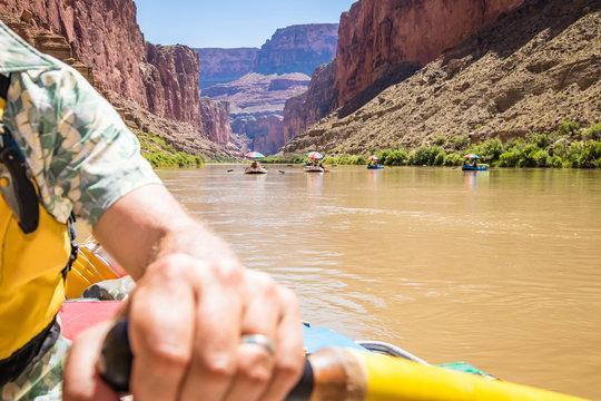 Rafters on a Colorado River trip, Grand Canyon National Park, Arizona, USA