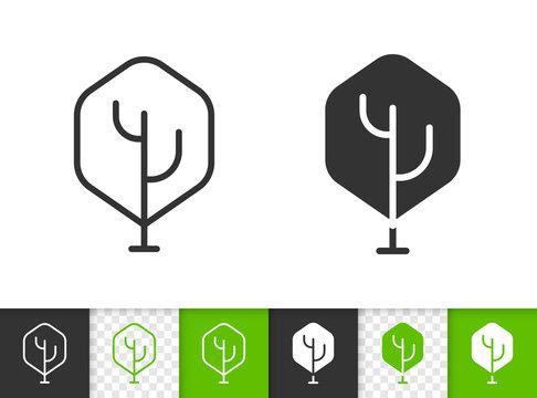 Geometric Tree simple black line vector icon