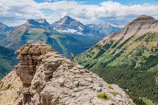 Woman hiking on summit