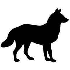black silhouette of a fox