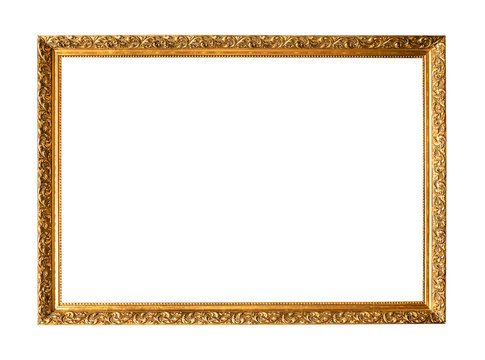 old narrow carved wooden painting frame