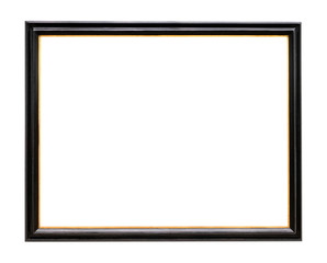 old narrow wooden picture frame painted in black