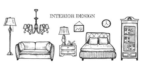 Set of furniture for interior design