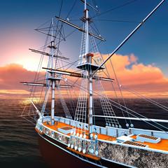 Pirate ship at sea 3d rendering