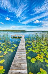 Foto auf AluDibond Himmelblau Beautiful summer day on masuria lake district in Poland