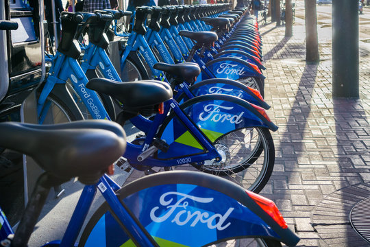 January 20, 2018 San Francisco / CA / USA - Ford GoBike is a regional public bicycle sharing system in the San Francisco Bay Area, California