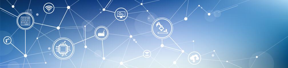 Smart factory / enterprise IoT icon concept: digitalization, automation, big data, innovative production - vector illustration