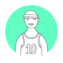 Basketball Player Avatar / Profile Picture. Isolated on Colorful Background  Vector Illustration