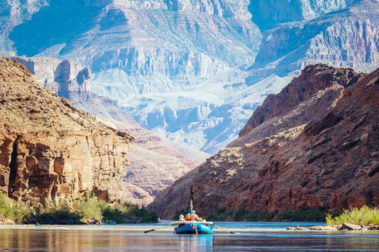 Rafts float down the Colorado River, Grand Canyon National Park, Arizona, USA