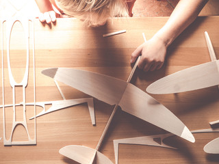 wood aircraft kit or airplane model made from from balsa