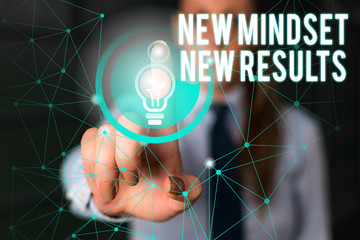 Word writing text New Mindset New Results. Business photo showcasing obstacles are opportunities to...