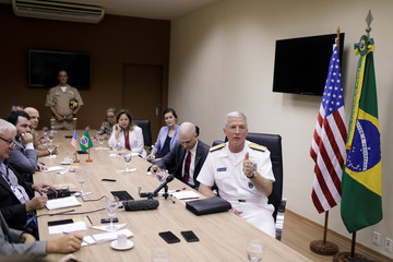 Commander of the U.S. Southern Command (SOUTHCOM) Admiral Craig S. Faller attends a news conference in Rio de Janeiro