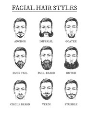 Facial hair styles barber guide set