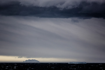 Storm clouds over Newcomb Bay, Antarctica.