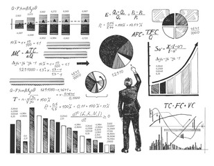 Businessman performing data analysis - fototapety na wymiar