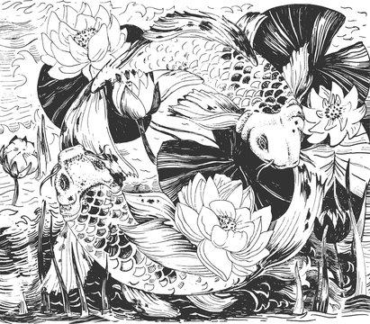 Japanese flowers, fish seamless pattern