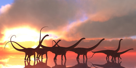 Diplodocus Dinosaur Reflection - A Diplodocus dinosaur herd wades through shallow water on a lake that reflects their shadows and clouds from the sky like a mirror.