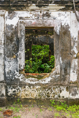 Ruins of Father Tenorio's house - historic building from the XIX century completely abandoned and taken over by the forest on Itamaraca island, Brazil