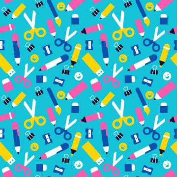 Fun school seamless pattern of children supplies