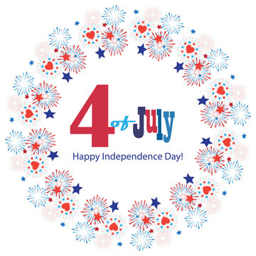 4th of July Greeting card. Firework Happy Independence day party holiday festive symbols fireworks isolated set symbols american flag color red blue white background, vector icon star burst flat