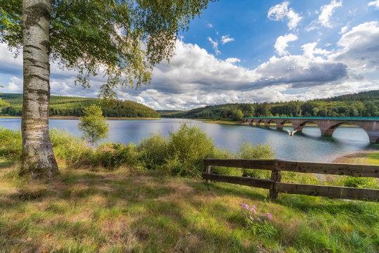 Klamer Bridge over the Verse dam in the Sauerland in Germany.