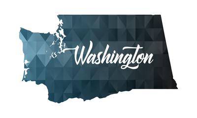 Washington state map. Geometric polygon map. Fototapete