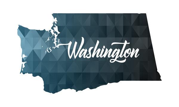 Washington state map. Geometric polygon map.