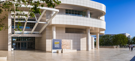 June 8, 2018 Los Angeles / CA / USA - The museum entrance hall at the Getty Center, designed by Richard Meier