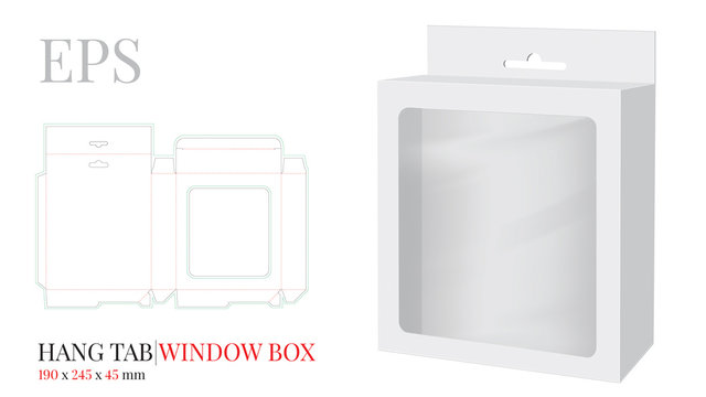 Hang Tab Window Box Template, Vector with die cut / laser cut lines. White, clear, blank, isolated Hang Tab mock up on white background with perspective view. Paper Box with Handle, Packaging Design