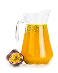 Maracuja Juice isolated on white background (selective focus; close-up shot)
