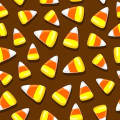 Fotobehang Draw Halloween Candies Festive Seamless Vector Textile Pattern