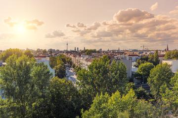 Berlin Friedrichshain Skyline late afternoon, Summer Scharnweber Straße Berlin von oben Dächer...