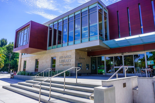 July 30, 2018 Los Gatos / CA / USA - The new and modern Los Gatos Library in the downtown area, next to the Civic Center; south San Francisco bay area