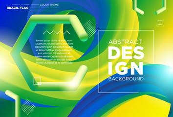 Abstract modern design 3d flow shape. Liquid wave backgrounds with Brazil Flag Color Concept