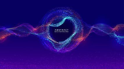 Glowing particles liquid dynamic flow. Trendy fluid cover design