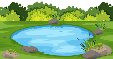 Landscape background with small pond in park