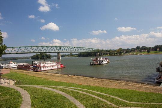 Boats on the Ohio River, Marietta, Ohio