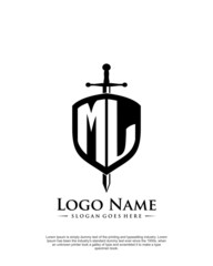 initial ML letter with shield style logo template vector