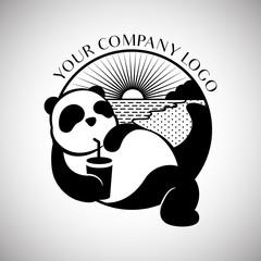 black and white panda wildlife china animal modern and simple logo design