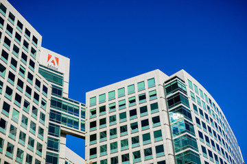 November 25, 2018 San Jose / CA / USA - Adobe Inc. headquarters in downtown San Jose, south San Francisco bay area, Silicon Valley