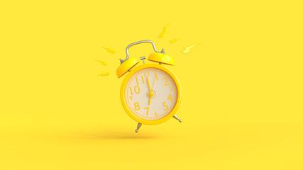 Yellow alarm clock was ringing at 7.00.