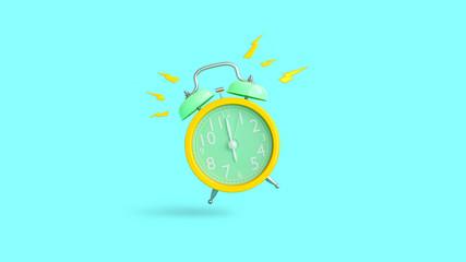 Yellow alarm clock was ringing at 6.00.