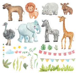 Africa watercolor set. Safari collection with giraffe, rhino, zebra, lion, warthog, ostrich, Buffalo, elephant. Watercolor cute animals.